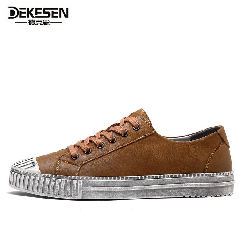 DEKESEN Brand 2017 Fashion Genuine Leather Casual Shoes for man, 2017 New Arrive White Oxford Shoes men, Lace up men shoes american country style retro industrial wind loft bar aisle edison flute wall lamp wall lamp simplicity creative