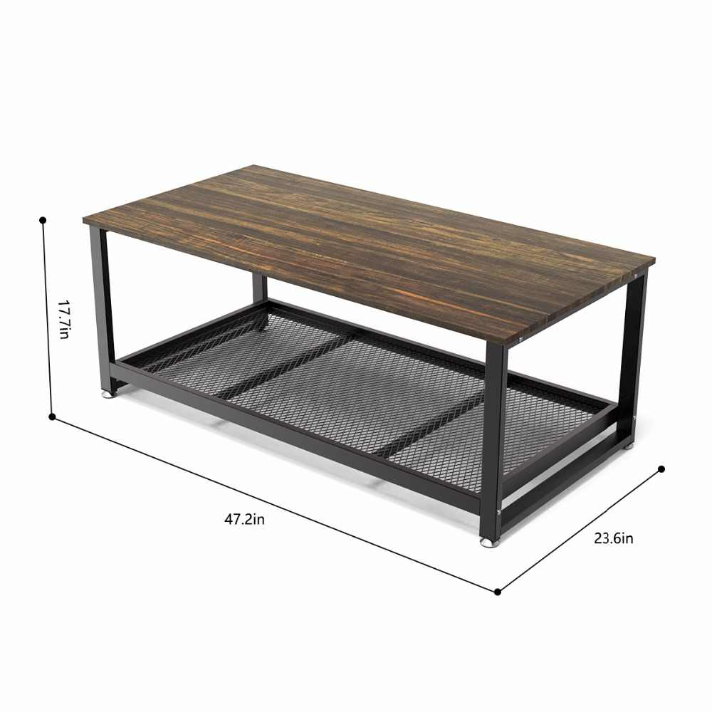 Awesome Dewel Coffee Table With Storage Shelf Industrial Modern Rustic 47 Inch Coffee Table For Living Room Gamerscity Chair Design For Home Gamerscityorg
