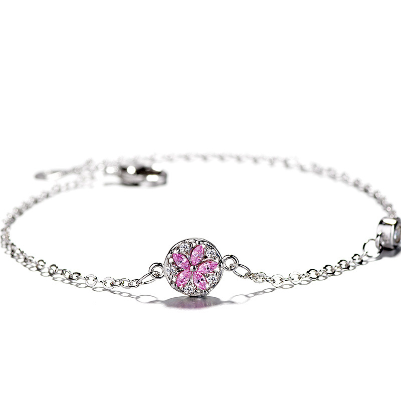 ZTUNG chbl13 For MO 2019 Classic pink colors stone bangle women 925 silver bracelet send with packing for women birthday giftZTUNG chbl13 For MO 2019 Classic pink colors stone bangle women 925 silver bracelet send with packing for women birthday gift