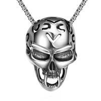 Gothic Cool Jewelry Vintage Men 316L Stainless Steel Large Biker Cross Skull Punk Design Necklace Pendant