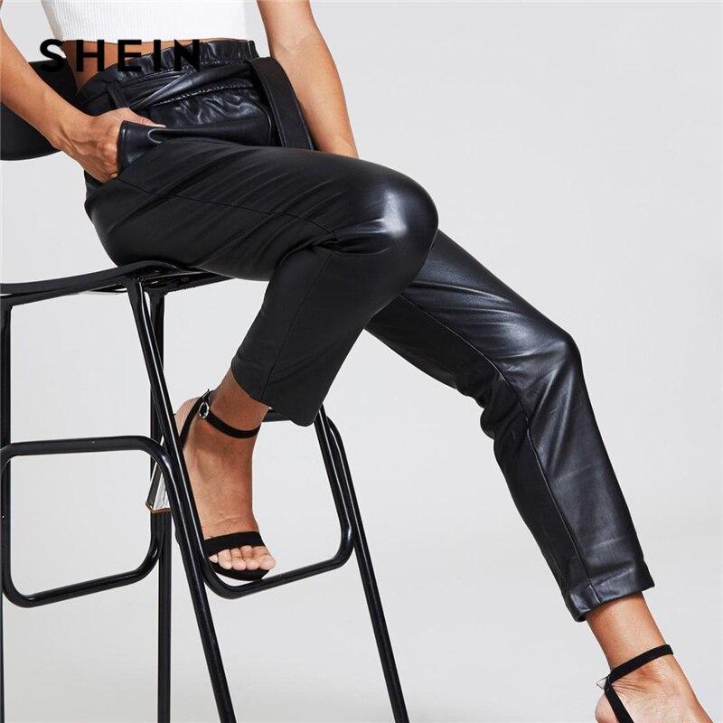 b52d88f7da SHEIN Highstreet Black Frill Belted Waist PU Leather Pencil Solid Ankle-Length  Pants Women 2019