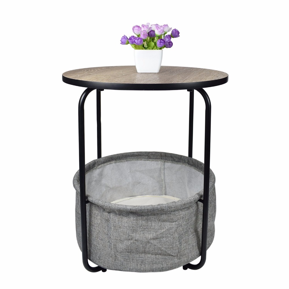 cyanbamboo metal coffee table living room side table basse corner tea table two tier round high quality bedroom bedside tables - Side Tables For Living Room