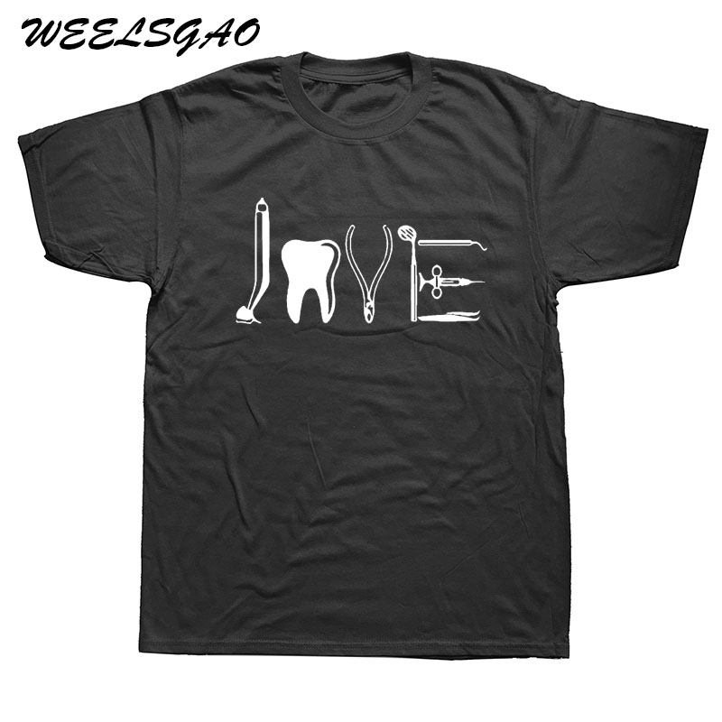 WEELSGAO LOVE By Dental Equipments Dentist Health Care T Shirts Men Cotton Tooth Tops Tee Short Sleeve Fitness T-shirt