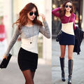 Women Winter Long Sleeve Knitted Sweater Tops Long Pullover Casual Patchwork Slim Bodycon Clothes