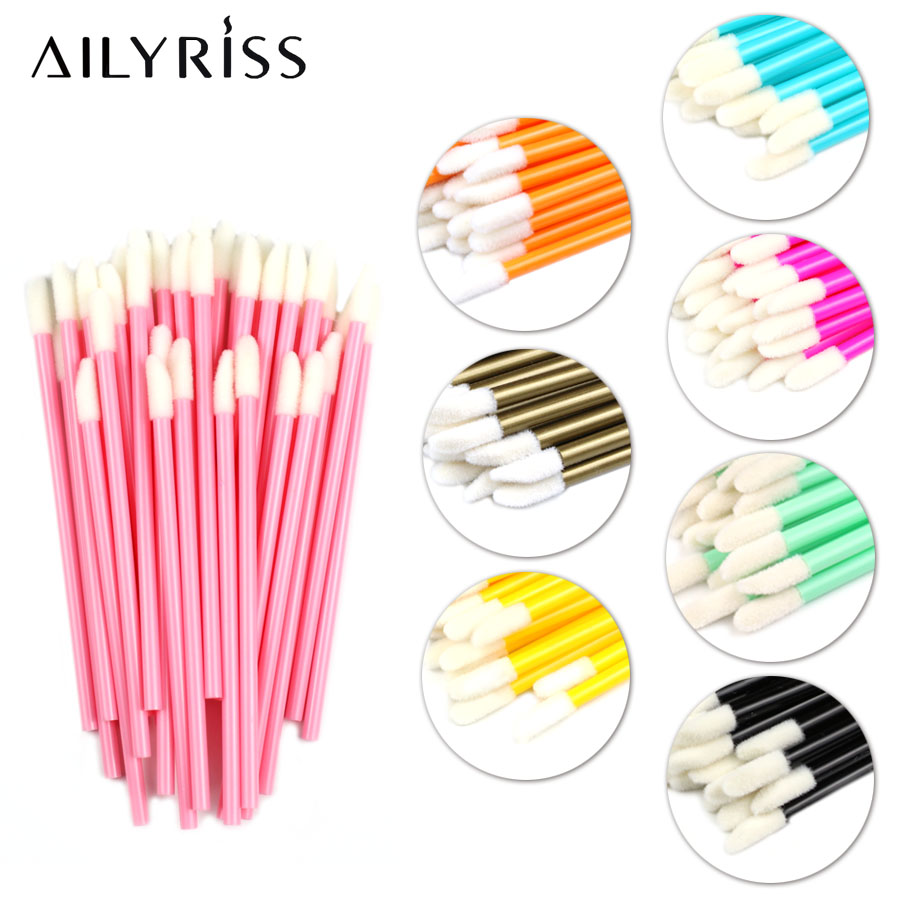 Disposable Lip Brushes 50 Pcs Eyelash Cleaning Brush Makeup Removing Tools Lipstick Lip Gloss Wands Applicator Tool Lip Brush