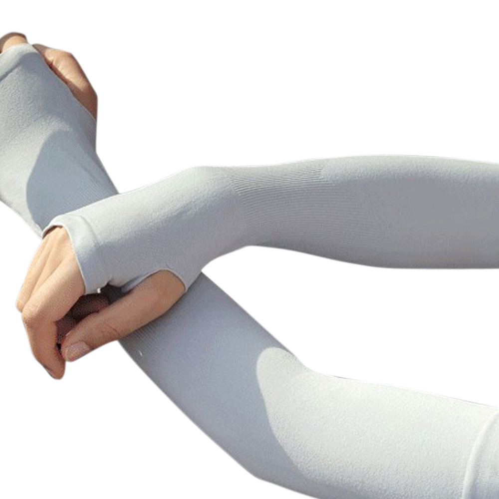 WAY.MAY Yellow Beer Protection Cooling Warmer Long Arm Sleeves Sunblock Protective Fingerless Gloves Outdoor Sun Sleeve