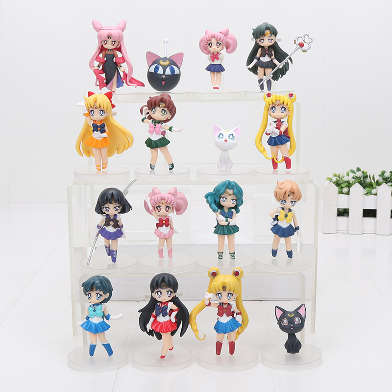 16pcs set 6 8cm Anime Sailor Moon Figures Tsukino Usagi Sailor Mars Mercury Jupiter Venus Saturn