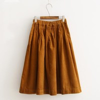 2017 Autumn Corduroy skirt Korean version Elastic waist solid color Vintage skirt saia mori girl