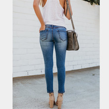Summer new hot stretch ladies jeans Slim high waist casual hole female retro feet pants pencil