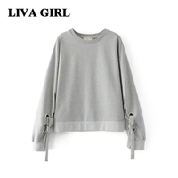 Liva Gir Autumn Winter Women S Cropped Hoodies Sweatshirt O Neck Casual Long Sleeve Sweatshirt Gray