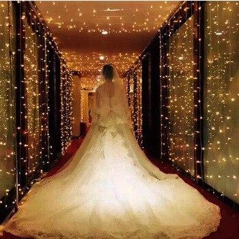 6M 600 LED Sincelo Cortina Seqüência de Luz Festa de Casamento Festival Interior Praça Jardim Janela Decoração de Natal do DIODO EMISSOR de Luz Ao Ar Livre