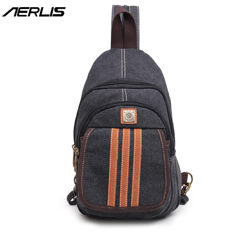 AERLIS Brand Handbag Men Crossbody Canvas Leather Chest Pack Messenger Bag Shoulder Male Fashion Single Travel Satchel Bags 336