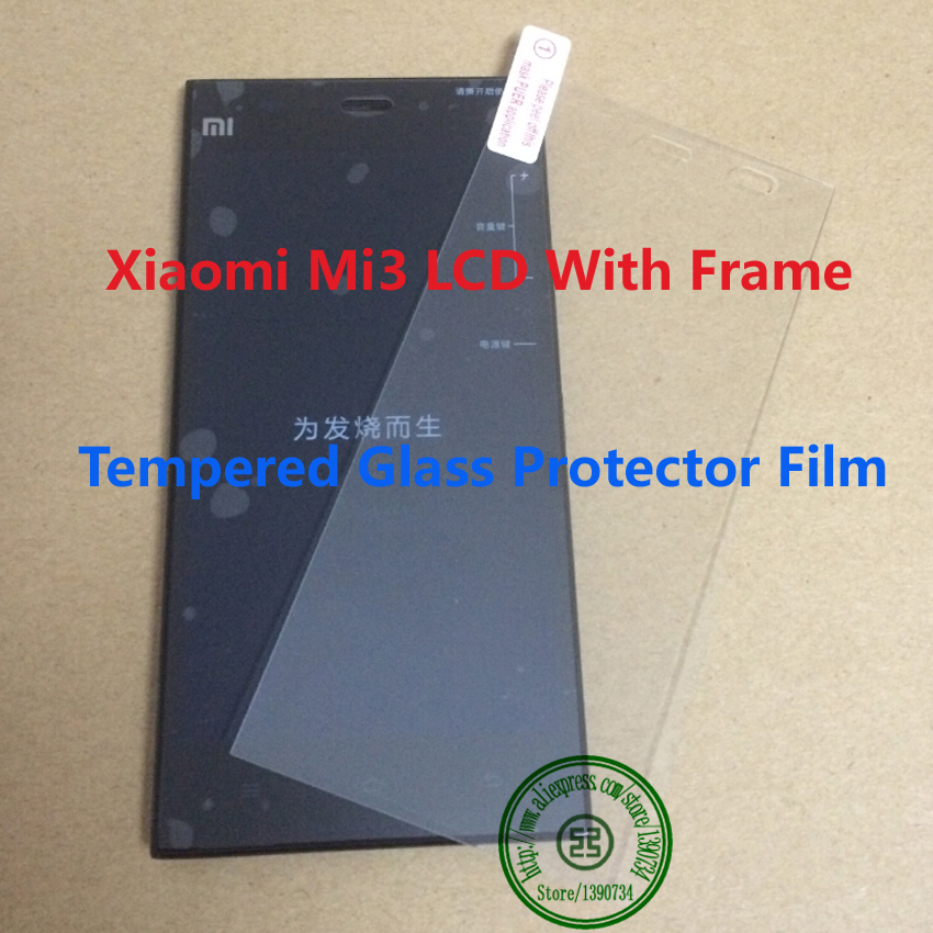 TOP Full LCD Display Touch Screen Digitizer Assembly With Frame For Xiaomi 3 M3 Mi3 Phone WCDMA + Tempered Glass Protector Film