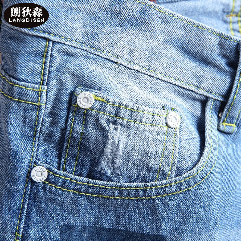 2018 light blue Young mens denim shorts tide affixed cloth patch hole in shorts
