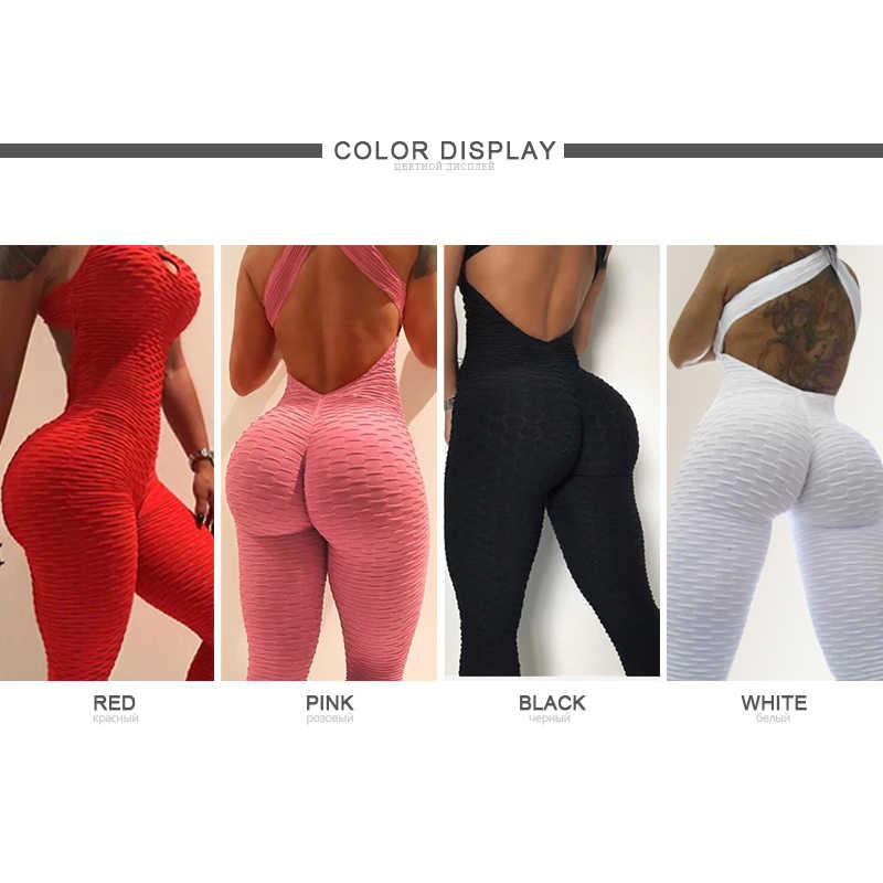 Fitness Frauen Sport Anzug Overall 2019 Sexy Sleeveless Trainingsanzug Yoga Set Backless Gym Laufsport Leggings Workout Sport