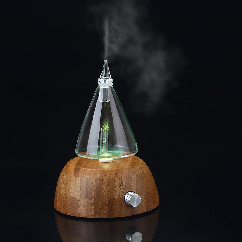 UIM Air Humidifier Glass Reservoir Nebulizing Pure Essential Oil Aromatherapy Diffuser LED Light Aroma Humidifier for Home