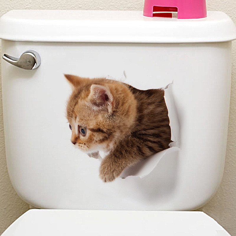 Vivid 3D Cat/Dog Look Hole Wall Sticker Bathroom Toilet Home Decorations Cute Home Decor PVC Art Mural Animal Wall Poster GHMY