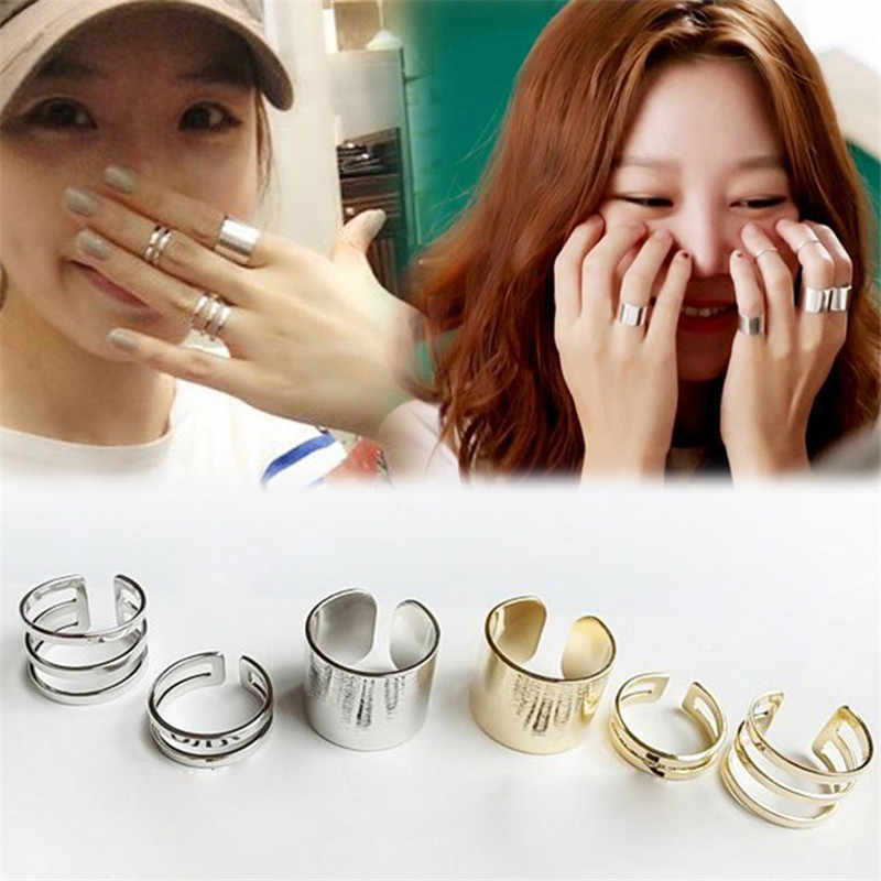 3Pcs/Set Punk Gold Silver Rings Female annulus Stack Plain Band Midi Mid Finger Knuckle Rings Set for Women Anel Rock Jewelry