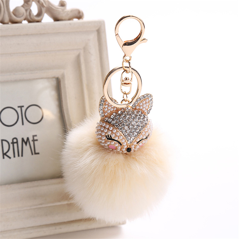 2017 New Artificial Rabbit Fur Ball Keychain Rhinestone Crystal Fox Head Pompon Trinket Key Chain Handbag Fluffy Key Ring Holder 5