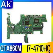 G751JM материнской REV2.2 для ASUS G751J G751JY G751JT G751JM ноутбук материнская плата с I7-4710HQ GTX860M 100% тестирование нетронутыми