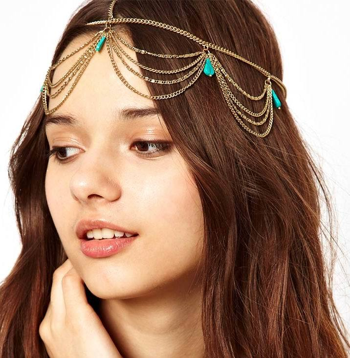 Fashion Gold Plated Tone Crown Turquoise Stone Headpiece
