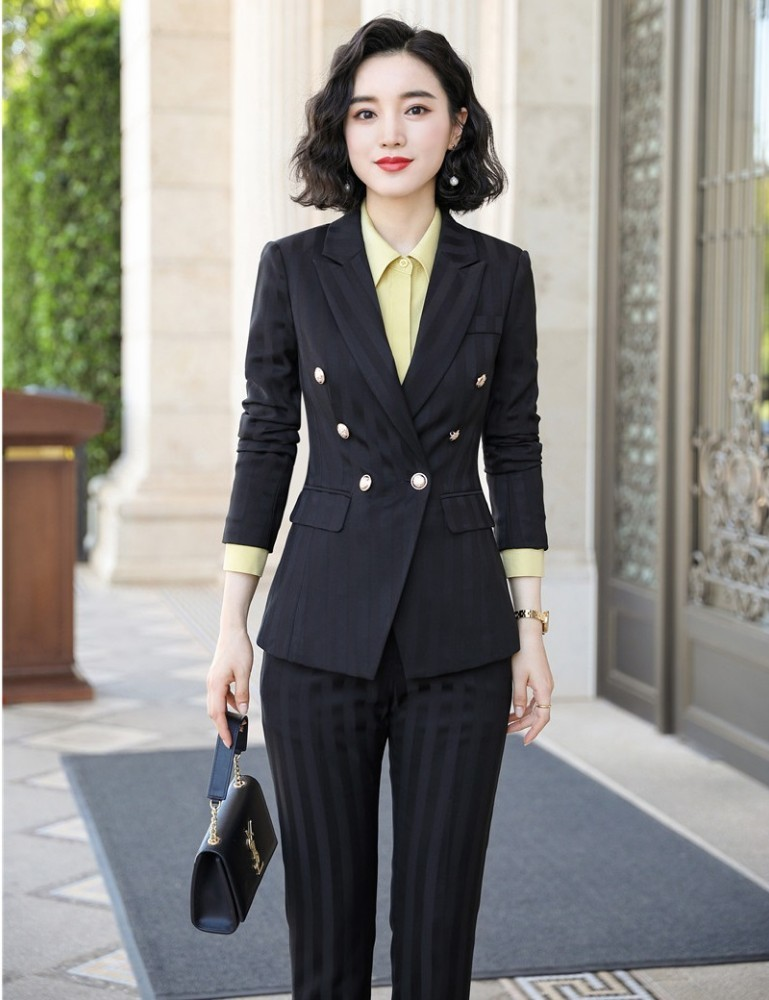 High Quality Fabric Novelty Wine Striped Women Business Suits with Pants and Blazer Coat Autumn Winter Professional Pantsuits 5