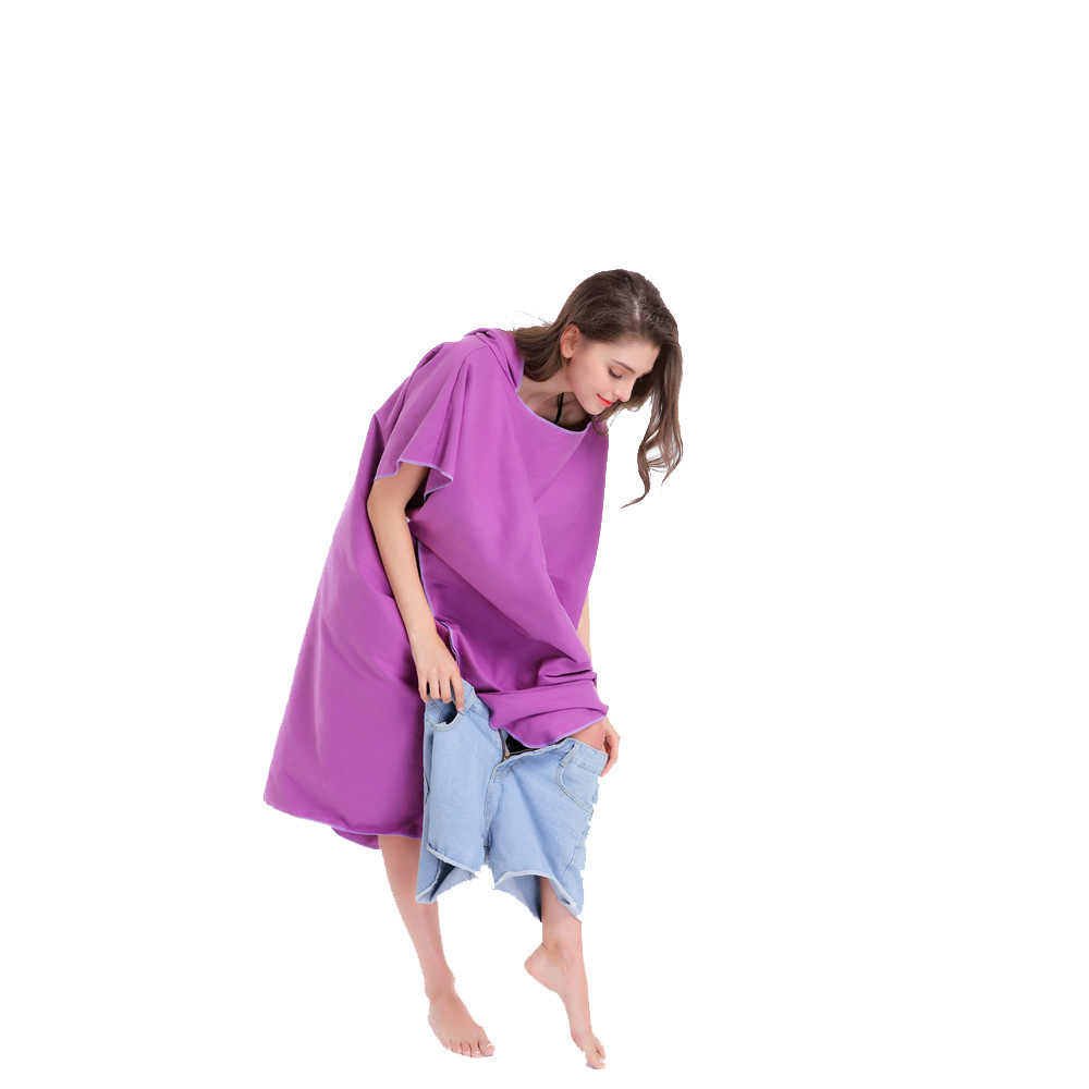b7957f870cd ... 2018 Outdoor Beach Changing Dress Bath Towel Hooded Poncho Bathrobe For  Adult Women Man Kids Terry ...