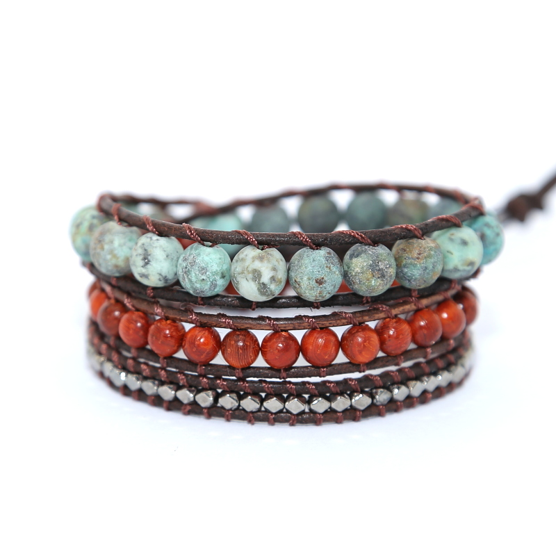 Vintage Leather Bracelets natural Stone 3 Strands Wrap Bracelets for men and Women Multilayer Boho Bracelet Handmade Jewelry bracelet