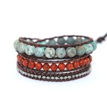 Vintage Leather Bracelets natural Stone 3 Strands Wrap Bracelets for men and Women Multilayer Boho Bracelet Handmade Jewelry(China)