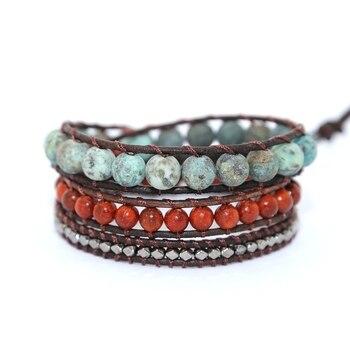 Vintage Leather Bracelets natural Stone 3 Strands Wrap Bracelets for men and Women Multilayer Boho Bracelet Handmade Jewelry