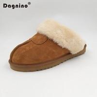 DAGNINO Brand Plush Slippers Women Home Winter Warm Indoor Genuine Leather Slippers Fashion Furry Australia House Shoes Unisex