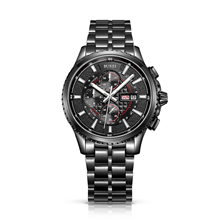 BUREI 17003 Switzerland watches luxury Men's Luminous Chronograph Day and Date Watch with Black Bracelet, Black Bezel Black Dial