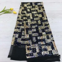 French lace fabric 5yds/pce dhl black&gold sequins fabrics women bright luxury gorgeous party event dress 2019 high quality new