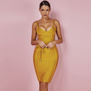 Image 2 - Ocstrade女性包帯ドレス 2020 レーヨンノースリーブ夏新着セクシーなディープvネックvestidoボディコン包帯ドレスクラブパーティー