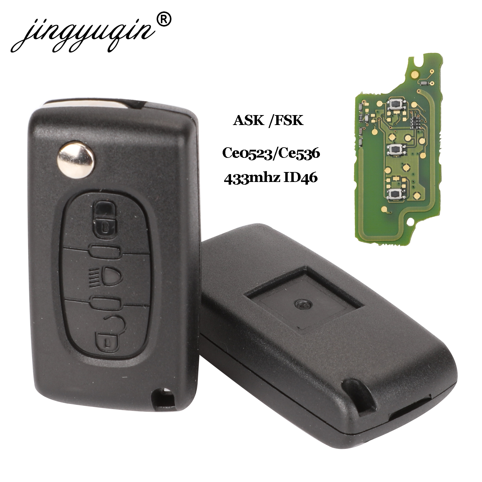 Jingyuqin ASK/FSK 433Mhz ID46 For Citroen C2 C3 C4 C5 C6 C8 3 Buttons Light Flip Remote Car Key Fob VA2/HCA Blade CE0523 Ce0536