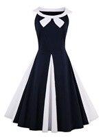 Women Vintage Dress 1950s Nautical Style Retro Sleeveless Sailor Collar Vintage Elegant Dress Party Swing Vestidos