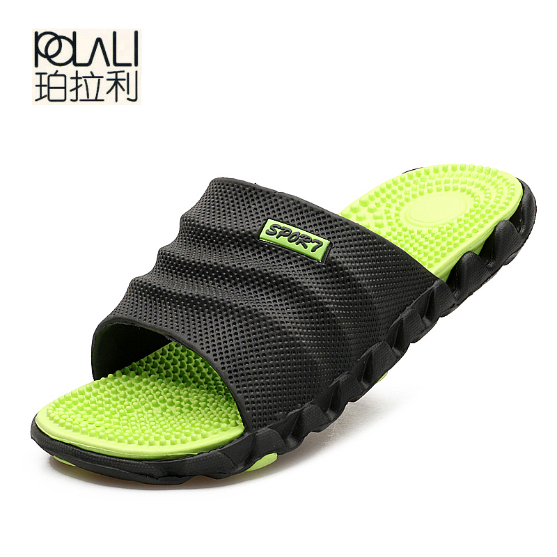 POLALI 2018 New Summer Cool Water Flip Flops Men High quality Soft Massage Beach Slippers,Fashion Man Casual Shoes(China)
