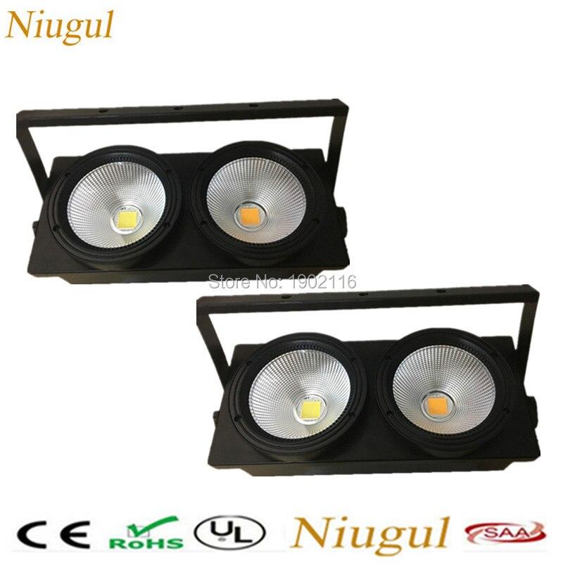 2pcs/lot 2 eyes 2x100w LED Cob Light DMX512 Stage Lighting Effect Warm white and cold white 200W Led Blinder Light Fast shipping