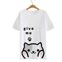 2016 Summer Harajuku Shirt Neko Atsume Anime Cartoon Japanese Kawaii Clothes Casual Lolita Backyard Cat T shirt Tops