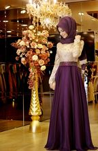 A-line With Hijab Customized Lace Overlay Elegant High Collar Casual Muslim Long Sleeve Maxi Two Tone Evening Dress