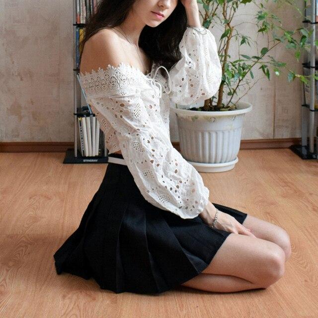 ELEXS Women Fashion Summer high waist pleated skirt Wind Cosplay skirt kawaii Female Mini Skirts Short Under it E1119 5