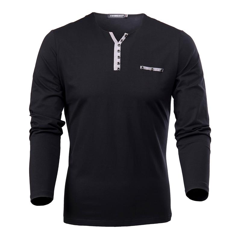 HTB1zDF2xNuTBuNkHFNRq6A9qpXaL - COODRONY Cotton T Shirt Men 2018 Spring Autumn New Long Sleeve T-Shirt Men Henry Collar Tee Shirt Men Fashion Casual Tops 7617