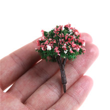 ZTOYL 10pcs/set mini Mixed colors exquisite Flower Model Train HO Trees Ball Shaped Scenery Landscape 1/87 Scale(China)
