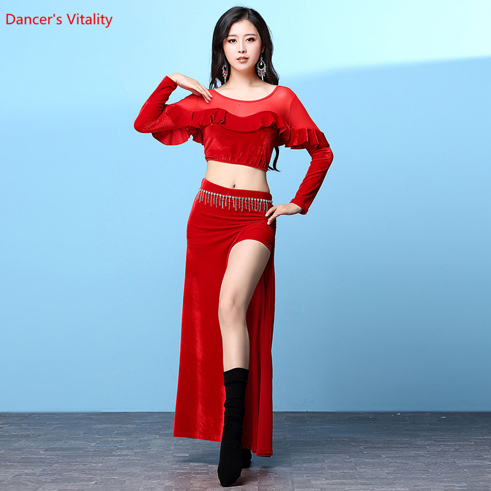 9482803ef67a Women belly dance suit Velvet Long Sleeve Sexy Belly dance top+Skirt ...
