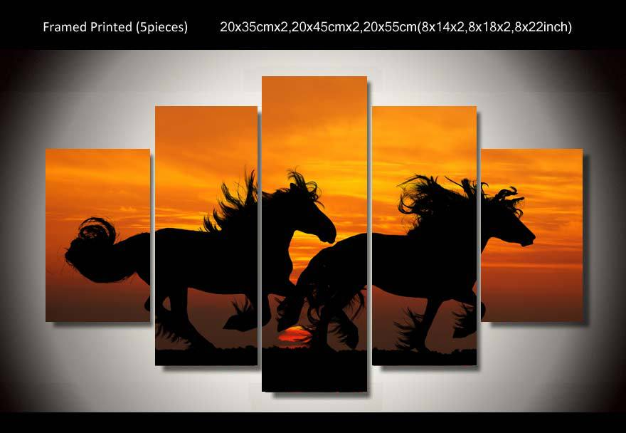 HD Printed horses Sunset painting wall art Canvas Print room decor poster canvas Free shipping/up-669