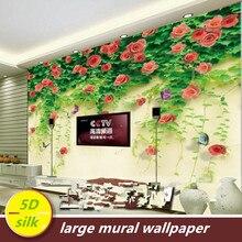 Custom 5D silk large murals wallpaper 3d korean Living room TV bedroom back wall covering waterproof garden decoration Rose Love цена 2017