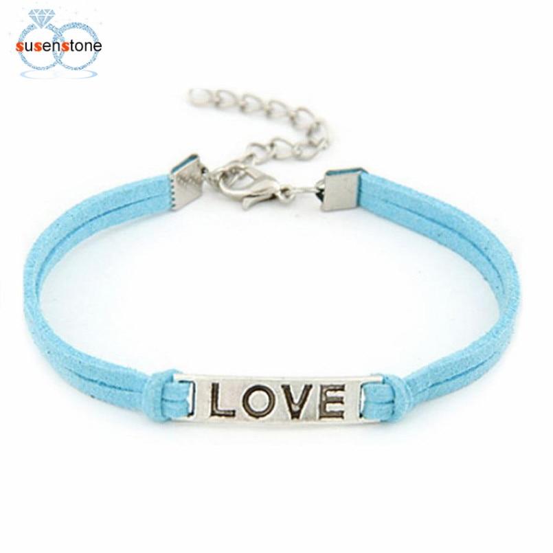 SUSENSTONE Braided Adjustable Leather Popular Bracelet Women Men Love Handmade Alloy Rope Charm Jewelry Weave Bracelet Gift #0 5