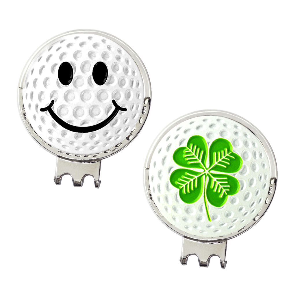 PINMEI Embossied Golf Ball Mark Hat Clip Gift Sets 2pcs 3D White Golf Markers 2pcs Silver Color Cap Clips In Organza Bag Packing