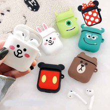 Portable earphone cover Bluetooth cartoon silicone case for airpods  Air Pods headset Protector Case