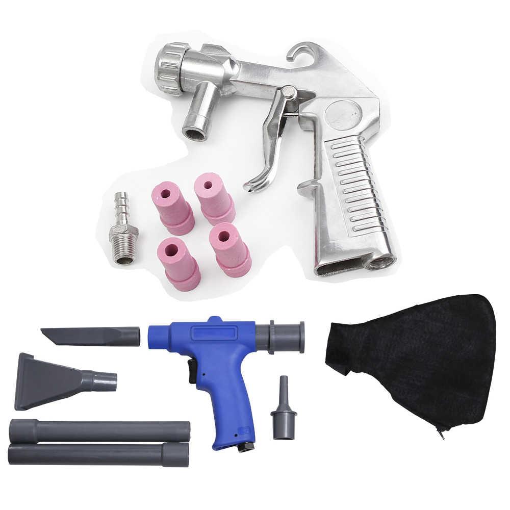2 en 1 portátil (pistola de succión de soplador de vacío de aire + chorro de arena) juego de limpiador neumático de chorro de arena con herramienta de accesorios